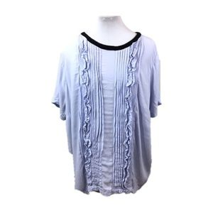 Eloquii Sz 18 Light blue short sleeve pintuck top